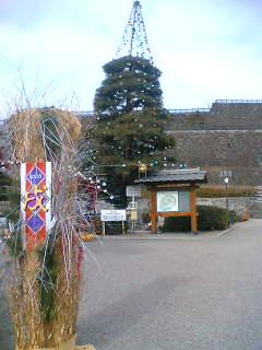 いまだにクリスマスの飾りつけが残っている舞鶴城