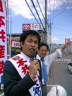 谷川参院選挙比例区予定候補と街頭演説しました。